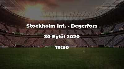 Stockholm Int. - Degerfors